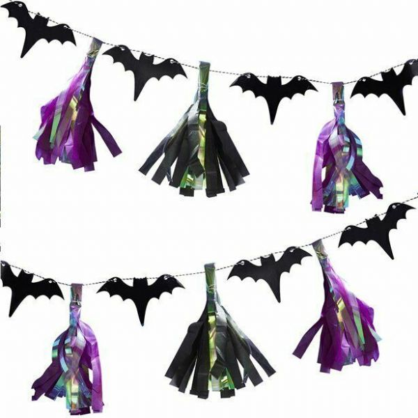 Halloween Creep It Real Bat Tassel Garland (2m)